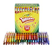 One Crayola Twistables Crayons Coloring Set with 50 compact twistable crayons in a reusable box This Amazon exclusive drawing set never needs sharpening or peeling A plastic barrel protects the color core, twisting up to color and down to store away ...