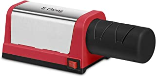 E-Gtong Electric Knife Sharpener, Professional 2-Stage Knives Sharpening System for Straight and Serrated Knives, with Diamond Abrasives for Knife Sharpening, Red