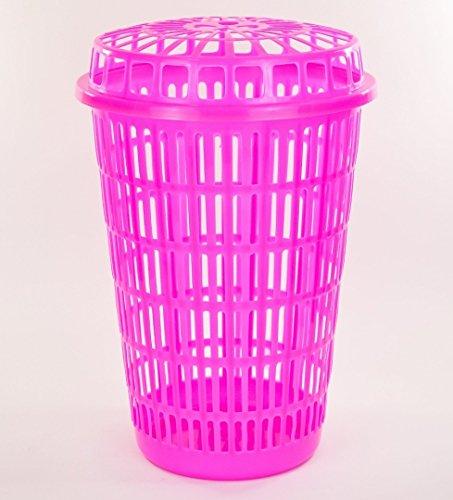Circular Plastic Laundry Linen Basket Bin Storage Hamper with Lid (Pink)