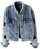 KEDERA Women's Star Embroidered Rivet Pearl Denim Jacket Coat (Blue, X-Small)