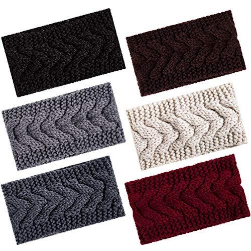 Whaline - 6 diademas de punto para el invierno, calentadores de orejas, turbante de ganchillo para la cabeza, accesorios de pelo elásticos, bufandas para mujeres y niñas