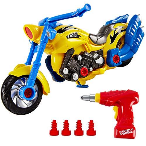 HERSITY Montage Spielzeug Autos DIY 2-in-1 Rennwagen Motorrad Set mit Lichtern und Sound Bohrmaschine Kinderspielzeug zum Zusammenbauen für Kinder Jungen Mädchen 3 Jahren