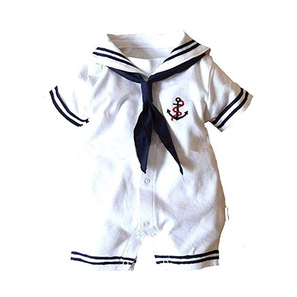 Zooyooart Baby Boys Girls Sailor One Piece Bodysuit Navy Romper Outfit Clothes Neckerchief