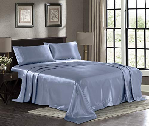 Satin Sheets Queen [4-Piece, SkyBlue] Hotel Luxury Silky Bed Sheets - Extra Soft 1800 Microfiber Sheet Set, Wrinkle, Fade, Stain Resistant - Deep Pocket Fitted Sheet, Flat Sheet, Pillow Cases