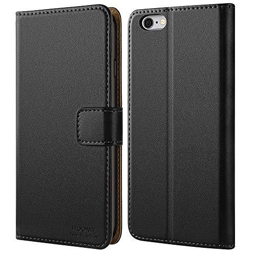 HOOMIL iPhone 6 Plus Hülle, iPhone 6S Plus Hülle, Premium Handy Schutzhülle für Apple iPhone 6 Plus / 6S Plus Hülle Leder Wallet Tasche Flip Brieftasche Etui Schale 5,5 Zoll, Schwarz (H3052)
