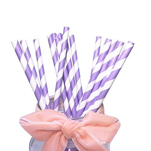Cannucce di carta a righe viola e bianche Cannucce per bevande ecologiche che possono essere utilizzate durante le vacanze al mare o le feste in piscina