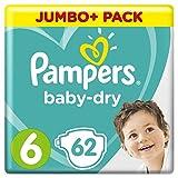 foto PAMPERS Baby Dry Pañales (Talla 6(13?18kg), para transpirable sequías, Jumbo + Pack) (3unidades x 62unidades)