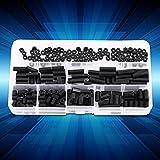 Akozon 250pcs M2 M3 Male Female Non-Conductive Nylon Hex Standoff Nuts Nuts Surtido conjunto con caja de plástico(M3 doble pase-B)