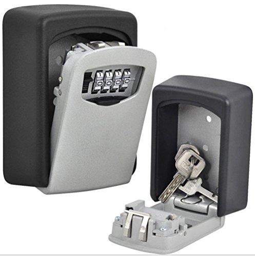 nuzamas Key Lock Caja Grande Caja de Almacenamiento, Capacidad para hasta 5 Teclas para Exterior Llave Maestra con Estuche estanco al Agua montado en la Pared para hogares, Business, Madres