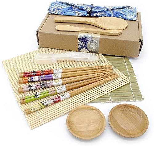 J & X 9 en 1 Sushi Maker Kit   Kit De Préparation De Sushi   Sushi DIY Kit 2 Tapis en Bambou, 1 Pagaie De Riz, 1 Cuillère De Riz, 5 Paires De Baguettes avec Un Sac,1 Moule À Sushi 2 Petits Plats