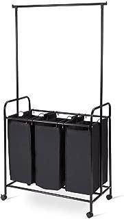 TimmyHouse Laundry Sorter Home 3 Bag Rolling Cart Hamper Organizer Shelf 34