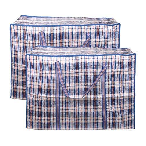 EDATOFLY 2 Stück Kleiderbeutel, Große Einkaufstaschen Aufbewahrungstasche Jumbo Taschen mit Reißverschluß für den Umzug Bettwäsche Kleidung Decken Kissen Quilt (Blau, 90cm*60cm*25cm)
