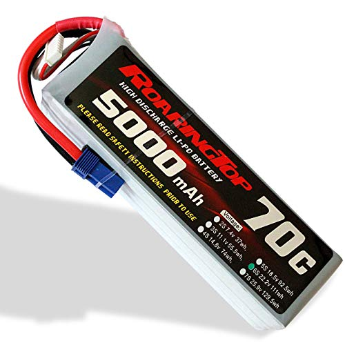 RoaringTop LiPo Battery Pack 70C 5000mAh 6S 22.2V with EC5 Plug for RC Car Boat Truck Heli Airplane