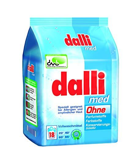 dalli® med Vollwaschmittel-Pulver I 18 Waschladungen I speziell geeignet bei Allergien und empfindlicher Haut | weiße Wäsche | 1,215 kg