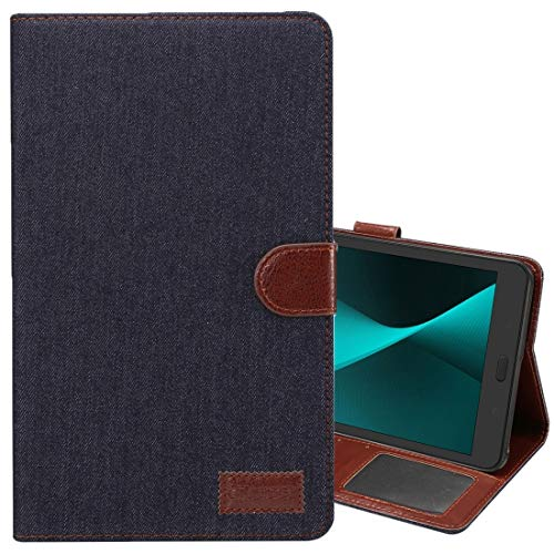 ZENGMING Tablet PC Case Cover Flip Leather Case Cover for Galaxy Tab A 8.0 (2017) / T380 / T385 Denim Texture PU Leather Case with Holder & Card Slots & Wallet (Color : Black)