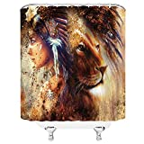 Native American Decor Native American Shower Curtains for Bathroom Sets Orange Feather Lion Shower Curtain,Indian Powerful Majestic Lion King Head Wildlife Themed Decor for Mens 70x70 with Hook
