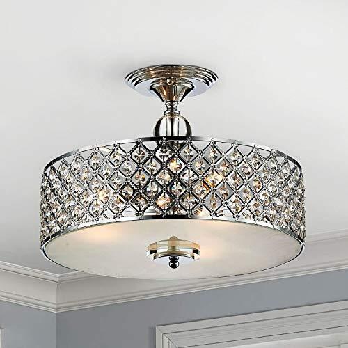 Saint Mossi - Lámpara de techo de cristal moderna K9 con 3 luces, montaje empotrado LED cerca del techo, lámpara de comedor, salón, dormitorio, Altura 28 cm x Ancho 39 cm