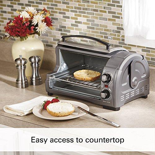 Hamilton Beach 31344D Easy Reach With Roll-Top Door Toaster Oven 4-Slice Silver