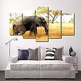 ABCDfang nórdico 5 Unidades HD Impreso África Elefantes Paisaje Grupo Pintura decoración de la habitación impresión póster Cuadro Lienzo-1