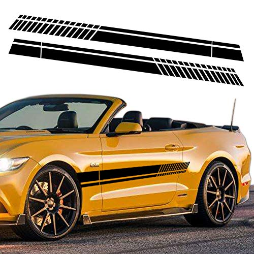 Leasinder 82.6'' Universal Sports Racing Stripe Graphic Stickers Decals for Truck Auto Car Body Side Door Decoration for All Cars SUV Truck Off-Road Vehicles Stickers Accessories (Black)