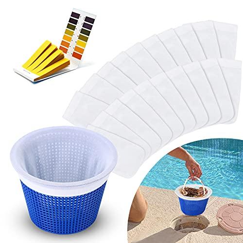 LIWIN Pool Skimmer Socken [20-Stück], Pool Skimmer Filter mit PH-Testpapiere Saver Nylon Socken Netz Skimmer Pool, Schwimmbad Skimmer Socken für Filter Skimmer Korb, Screen Liner für Schwimmbad Korb