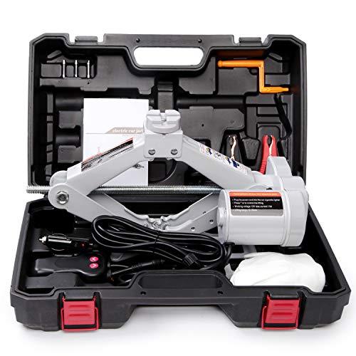 FXPQCQJD Elektrischer Wagenheber, 3 Tonnen, automatischer 12-V-Scherenheber mit Schlagschrauber, einfach und schnell für Reifenwechsel und Ersatz geeignet für die Automobilkonstruktion