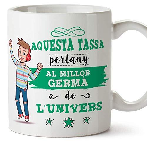 """MUGFFINS Taza Hermano (En Catalán) -""""Aquesta Tassa Pertany al Millor Germà de l'Univers"""" - Taza Desayuno/Idea Regalo Cumpleaños para Hermanitos. Ce"""