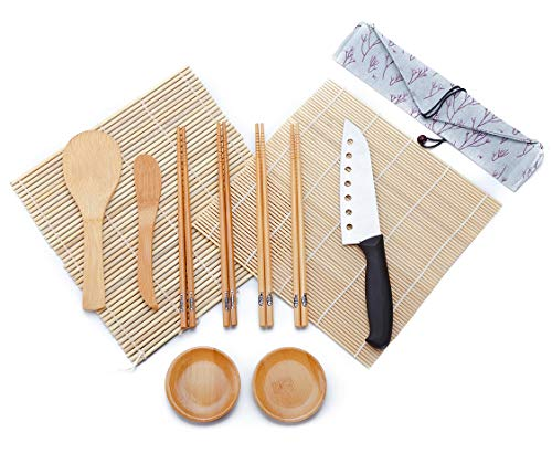 WeeDee Bambou Sushi Maker Kit - roulettes pour Sushi en Bambou, 2 x Tapis, 1 pagaie de Riz, 1 x épandeur de Riz, 4 Paires de Baguettes ,1 Couteau , 2 Petit Plat