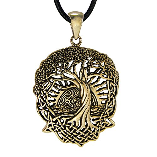 Moonlight Mysteries Bronze Celtic Knot World Tree of Life Pendant Necklace with Rising Sun