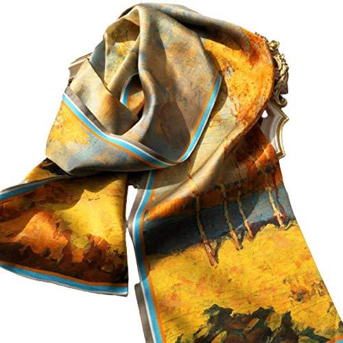 N-B Bufanda de Seda de Morera, Estilo otoñal, Estilo Occidental, Moda Salvaje, Bufanda de satén de Seda de Doble Cara, Banda para el Cuello Estrecha y Serpentina