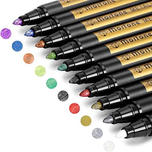 Metallic Marker Pens, Morfone Set of 10 Colors Art Paint Pen Markers for Card Making, Rock Painting, DIY Photo Album, Scrapbook Crafts, Metal, Wood, Ceramic, Glass (Medium tip)