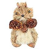 NUOBESTY Figura de ardilla de paja de Navidad ardillas al aire libre Estatua de jardín hecha a mano tejida Woodland Animal Modelo Niño Cumpleaños Fiesta Mesa Centro