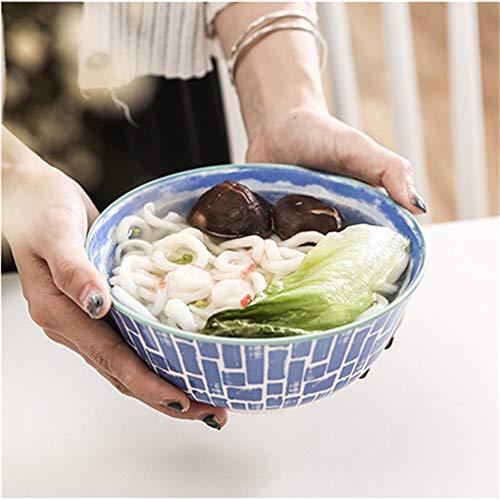 LIXUE Grande salade de fruits Céréales Bol Soupe Ramen Pasta Mixing Bol de service Belle créative peint à la main en céramique Vaisselle Four micro-ondes Safe 6 pouces (Color : Blue)