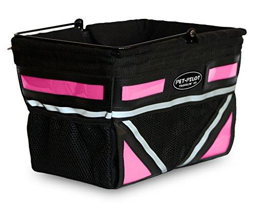 Travelin K9 Pet-Pilot Original Dog Bike Basket Carrier | 8 Color Options for Your Bicycle (Neon Pink)