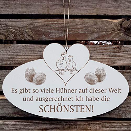 DIE SCHÖNSTEN HÜHNER DER WELT Schild mit Huhn 02 Ei und Herz ca. 20 x 12 cm