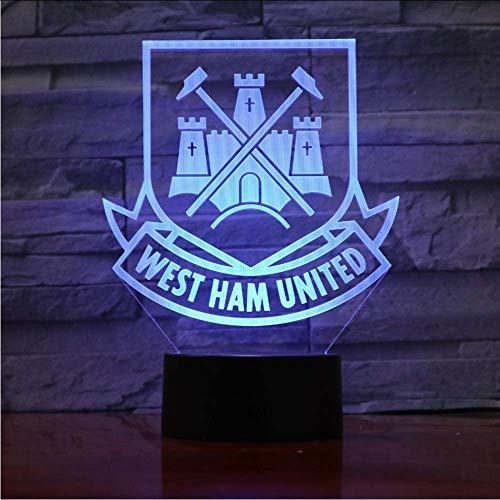 West Ham United Football Club 3D Optische illusie sfeerlicht 7 kleuren veranderende Luminaria lava lamp kinderen nachtlampje nieuw geschenk