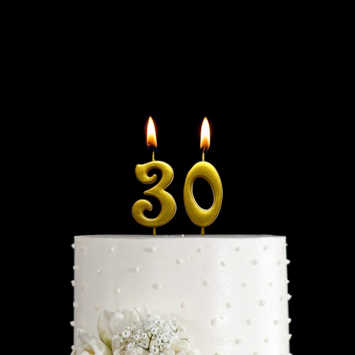 شمعة Magjuche ذهبية 30 عيد ميلاد رقمية شموع علوية للكعك لتزيين الحفلات للنساء أو الرجال Amazon Ae