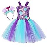 Jurebecia Disfraz Sirenita Princesa Sirena Fiesta de Disfraces Pequeña Niñas Vestido de Tutú Outfit con Accesorio Halloween Morado 4-5 Años