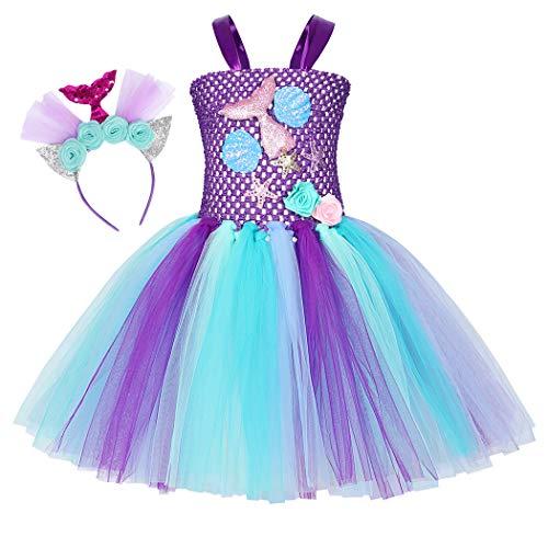 WonderBabe Traje De Sirena para Niña Vestido De Princesa con Flores Fiesta De Cumpleaños Festival Ropa De Actuación En El Escenario Púrpura Edad De 6-7 Años