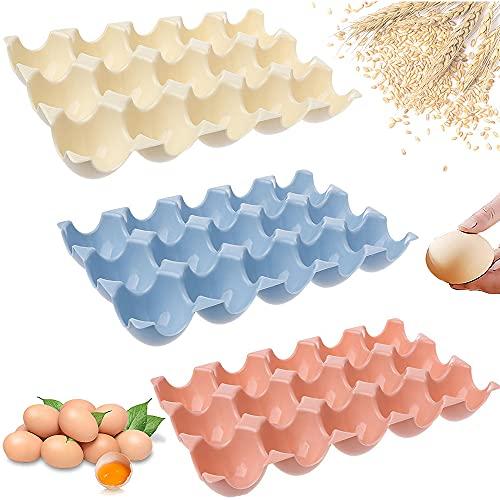 3 Piezas Caja Envase para Huevos, Recipiente para Huevos, Caja de Almacenamiento de Huevos, Capacidad para 15 Huevos, Plastico Anti-Caída Apilables Contenedor Huevos para Frigorífico (3 Colores)