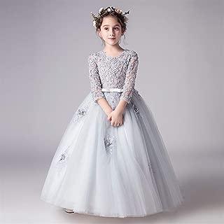Luxury Princess Dress Children Dress Flower Girl Dress Princess Wedding Dress Piano Performance Clothing Girls Host Wedding Dress Tutu ryq (Color : Grey, Size : 120cm)