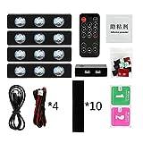 FUSSUF 4pcs del Coche LED Luz Estrellada del pie Ambiente USB DJ Ambiente Colorido Mezclado de música Ritmo de la lámpara de Control de Sonido de Voz (Emitting Color : Car Light Set)