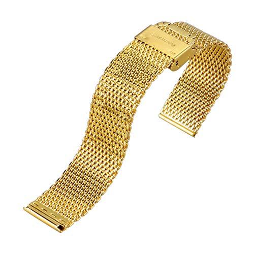 ZXF Correa Reloj, De Acero Inoxidable de Malla Correa 20mm 22mm Hombres y Mujeres de la Correa de Oro de la Correa de reemplazo Pulsera (Band Color : 20mm)
