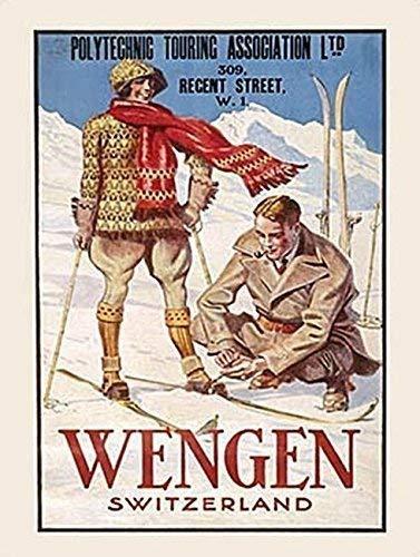 Wengen Suizo Alpes esquí Snow Vacaciones Antigua Clásico Viaje Anuncio Vintage Retro, 1930s, deco Metal/Cartel De Acero Para Pared - acero, 9 x 6.5 cm (Imán)