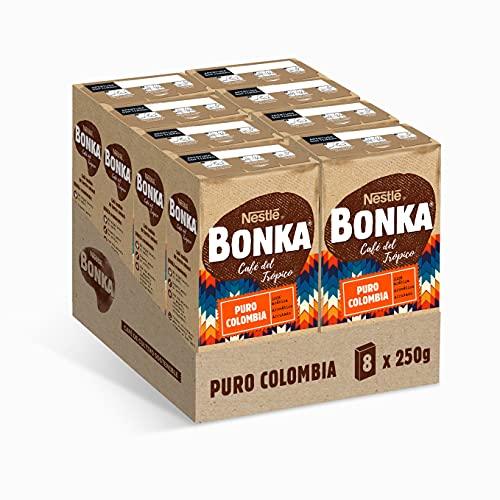 Bonka Café Tostado Molido Puro Colombia, 250 g - 8 Paquetes
