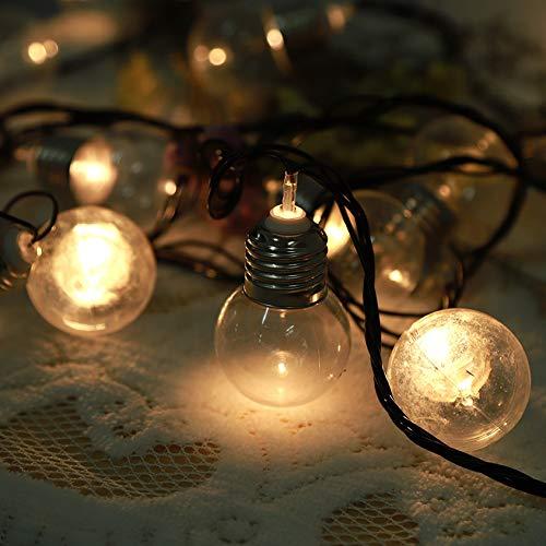 Snufeve6 Luces de jardín 6M 20 Bombillas LED Bombilla de luz LED, Luz de Cadena de luz para Paredes, para Fiesta de árbol de Navidad(Pink, European Standard 220V)