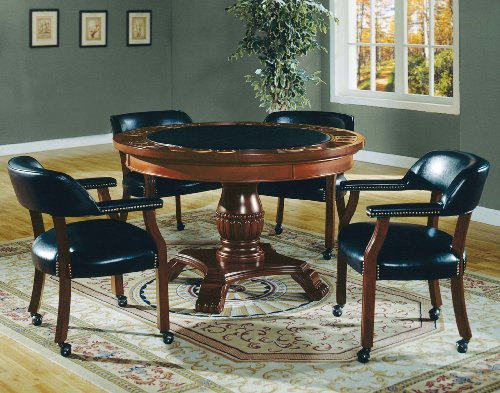 """Big Sale Best Cheap Deals Steve Silver Tournament 50"""" Round Poker Game Table Top in Cherry & Black"""