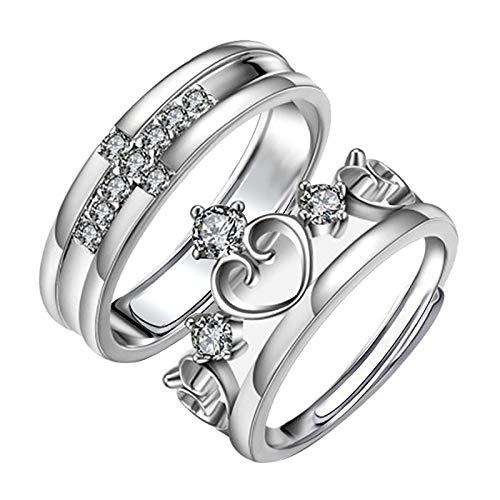 Janly Clearance Sale Anillos para mujer, 2 anillos para parejas, anillo de cobre fresco con apertura de nudo ajustable, anillo de cobre, conjuntos de joyas, día de San Valentín (K)