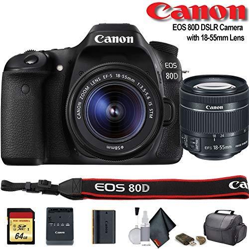 Canon EOS 80D DSLR Camera with 18-55mm Lens (International Model) (1263C005) - Starter Bundle