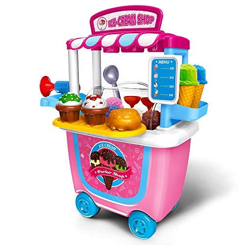 Gizmovine Ice Cream Pretend Toys Set 31pcs Pretend School Playset Food Truck Ice Cream Cart Toys for Kids Boys Girls 6 5 4 3 2 Year Old
